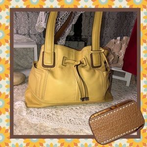 Tignanello Yellow Leather Shoulder Bag USED